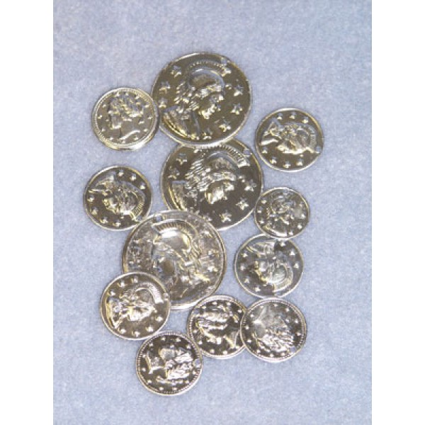 Charm - Coin - Assorted Sizes Silver