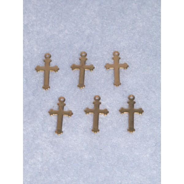"""Charm - Gold Cross - 5_8"""" Pkg_6"""