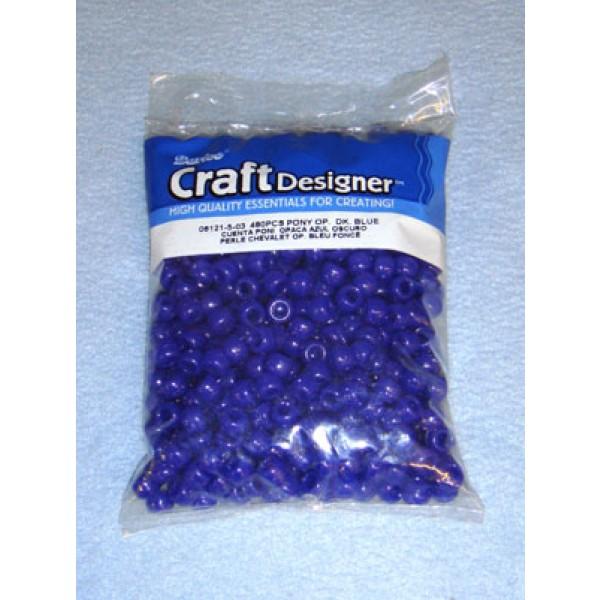 Dark Blue Opaque Pony Beads 6x9mm 480 pcs