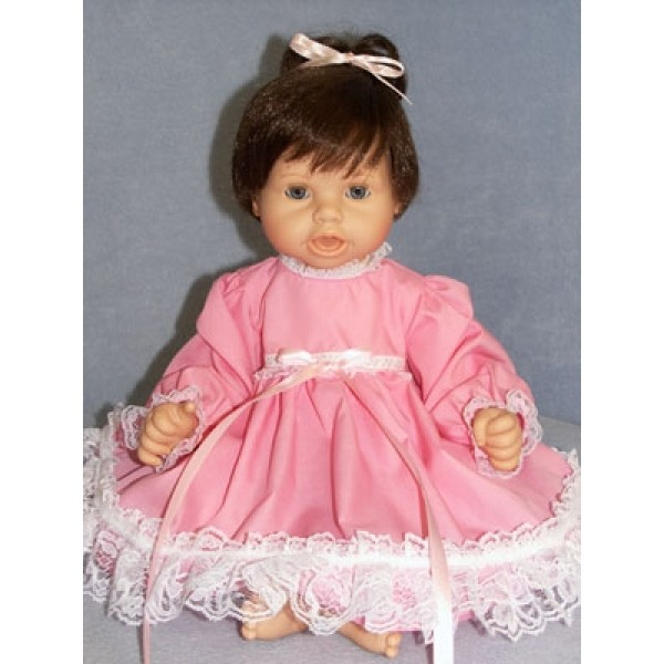 "Dress - Pink w_Lace Trim 19-22"" Doll"