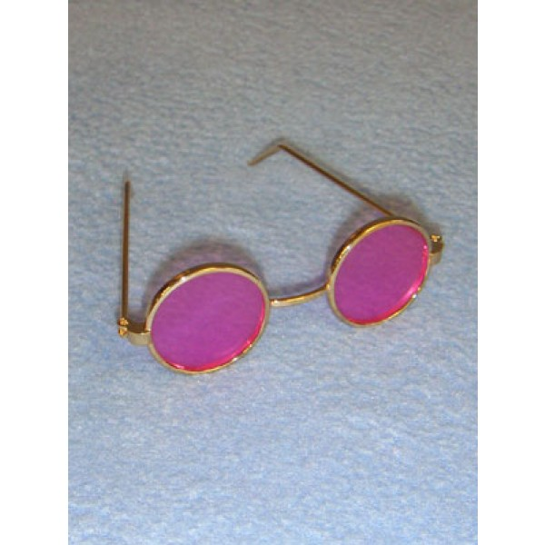 "Glasses - Round - 3"" Gold Wire w_Rose Lens"
