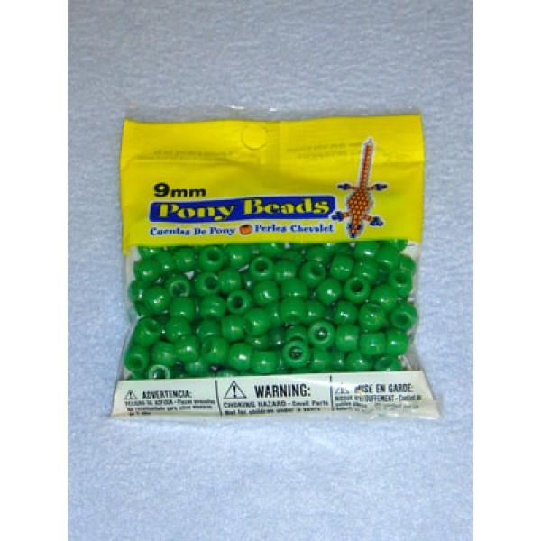 Green Opaque Pony Beads 9mm 150 pcs