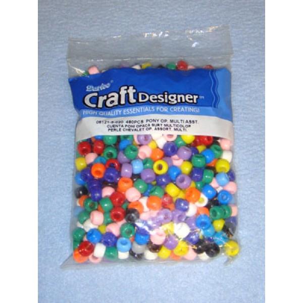Multi Opaque Pony Beads 6x9mm 480 pcs