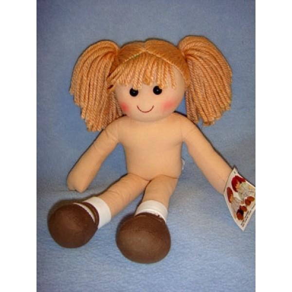 "lRag Doll w_Light Brown Yarn Hair - 13 3_4"""