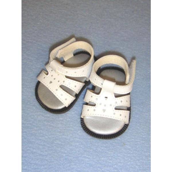 "Sandal - Heart Cut-Out - 2 7_8"" White"
