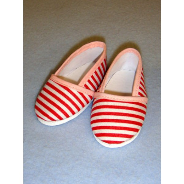 """Shoe - Cloth Slip-On - 3 1_8"""" Red & White Striped"""