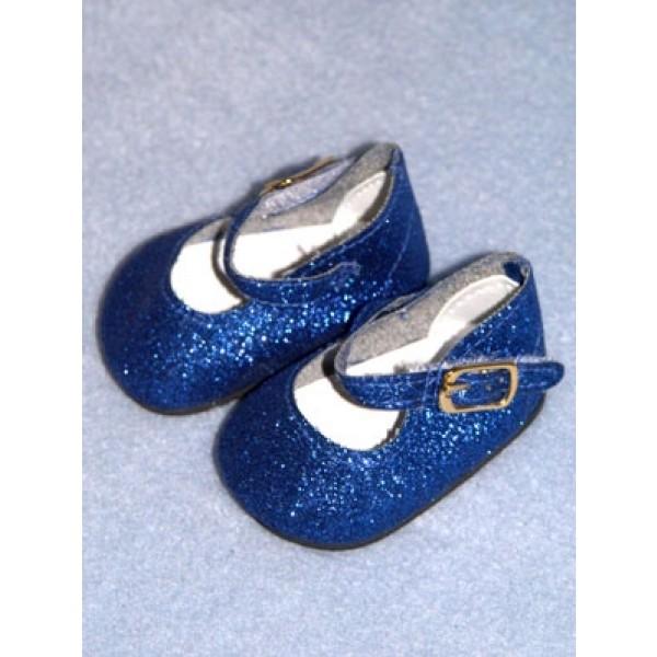 "Shoe - Elegant Ankle Strap - 2 3_4"" Blue Glitter"