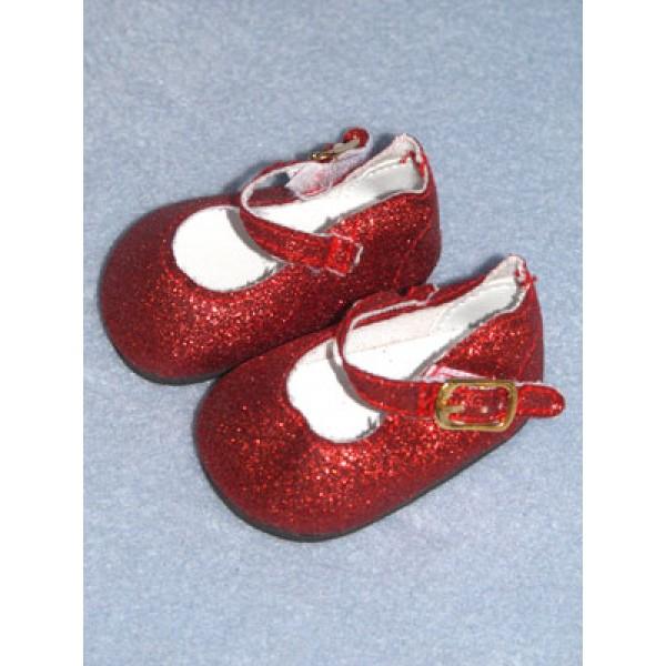 "Shoe - Elegant Ankle Strap - 2 3_4"" Red Glitter"