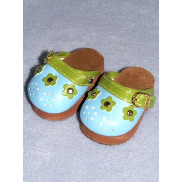 "Shoe - Flower Petal Clogs - 3"" Blue & Green"