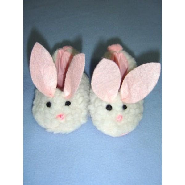 "Slipper - Bunny - 2 7_8"" White w_Pink"
