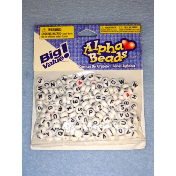 White Alpha Beads 7mm Round 250 pcs