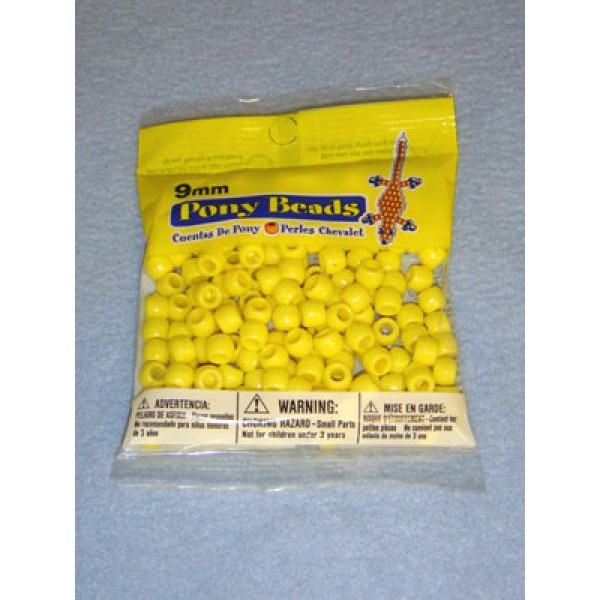 Yellow Opaque Pony Beads 9mm 150 pcs