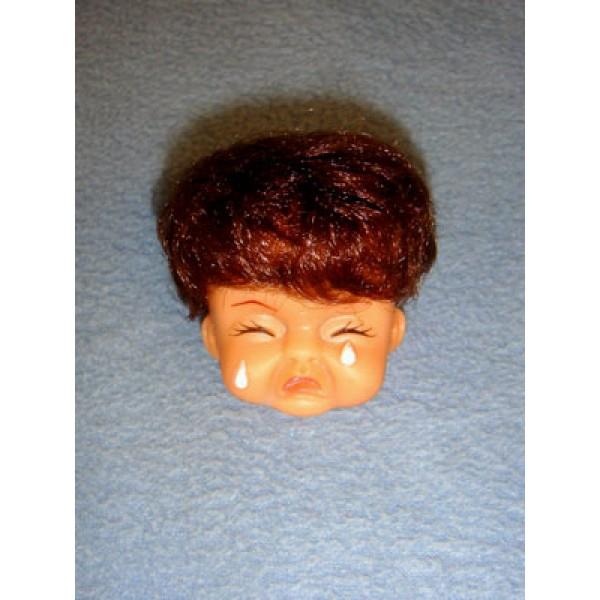 "|2"" Crying Baby Head w_Brown Hair"