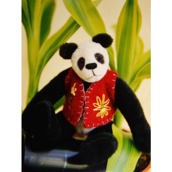 "|3 1_2"" Haiku Panda Bear Pattern"