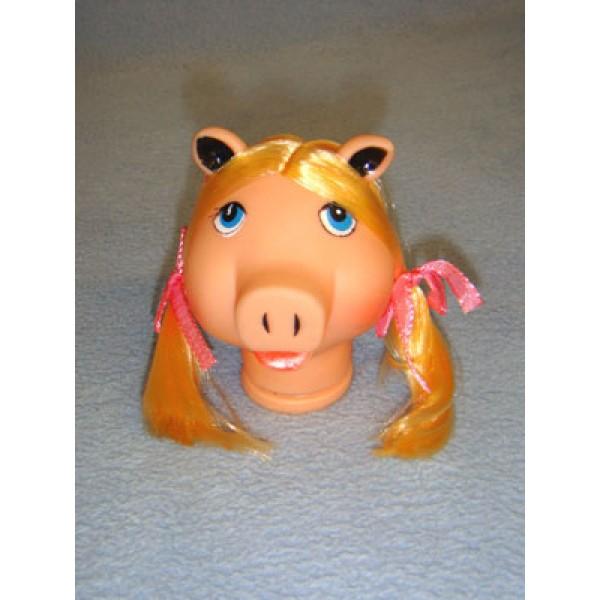 """ 3 1_2"""" Pig Head w_Blond Hair"""