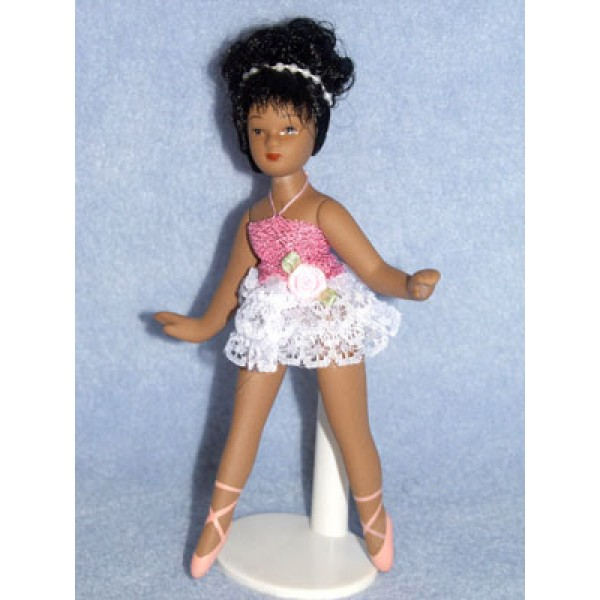 "|5 1_2"" Porcelain Ballernia Doll w_Black Hair and Dk Skin"