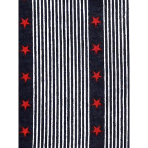 |Fabric-Stripe w_Red Stars Knit-Navy