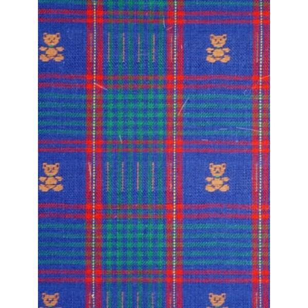 |Fabric- Plaid w_Brown Bears - Blue