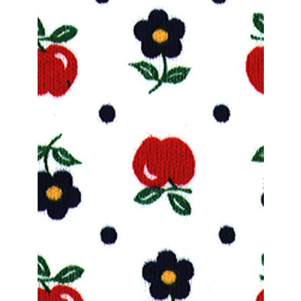 |Fabric - Apples & Flowers Knit-White