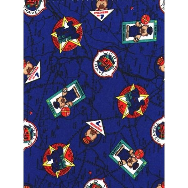 |Fabric - Railroad Bears - Royal