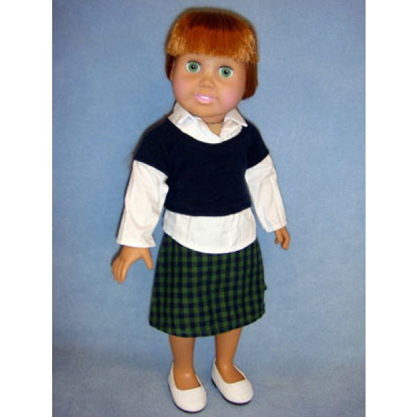 "|Shirt & Plaid Skirt for 18"" Doll"