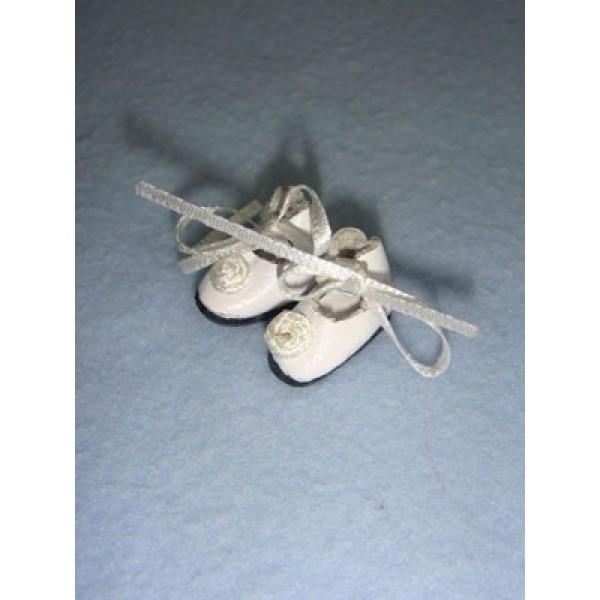" Shoe - Tiny Tie w_Rosette - 1_2"" White"