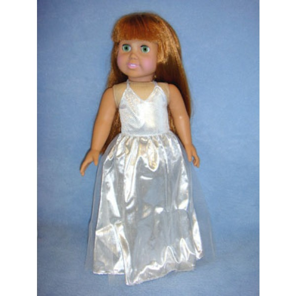 "|Silver Prom Dress for 18"" Doll"