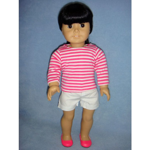 "|Striped Shirt & White Shorts for 18"" Dolls"