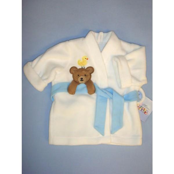 " White Bath Robe w_Applique - 19-21"" Dolls"